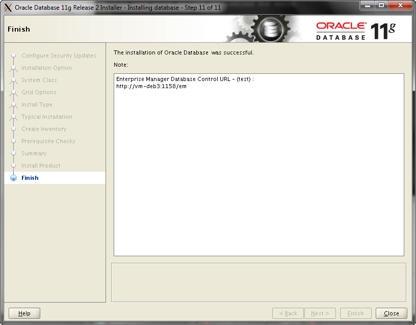 Oracle Install Step 11