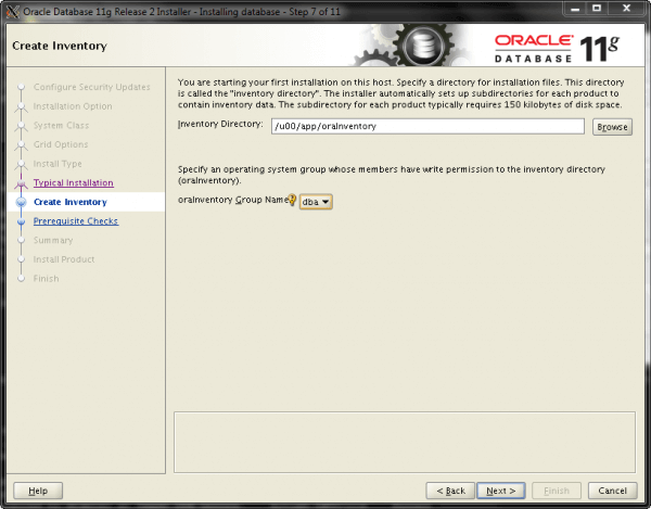 Oracle Install Step 7