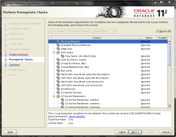 Oracle Install Step 8