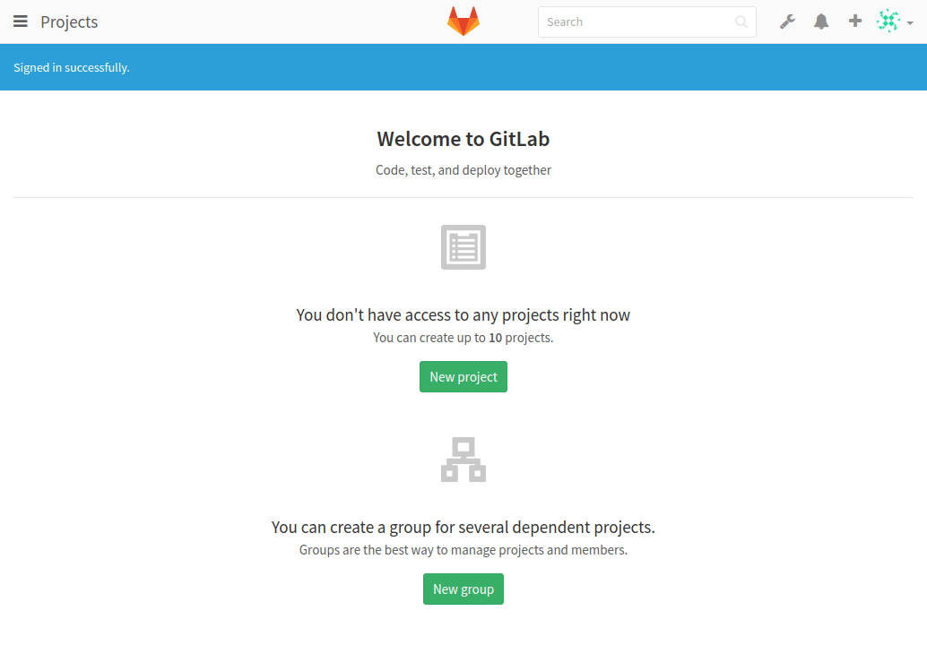 gitlab first page